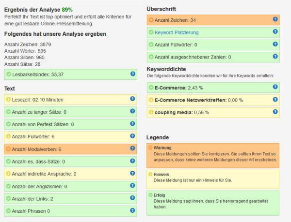 Analyseergebnis eines Onlinetexts des PR-Gateway Textanalyse-Tools