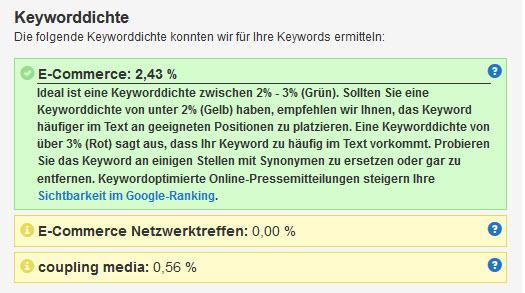 Messung der Keyworddichte mit dem Textanalyse-Tool