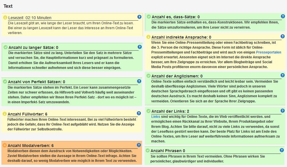 Detailansicht des Textanalyse-Tools