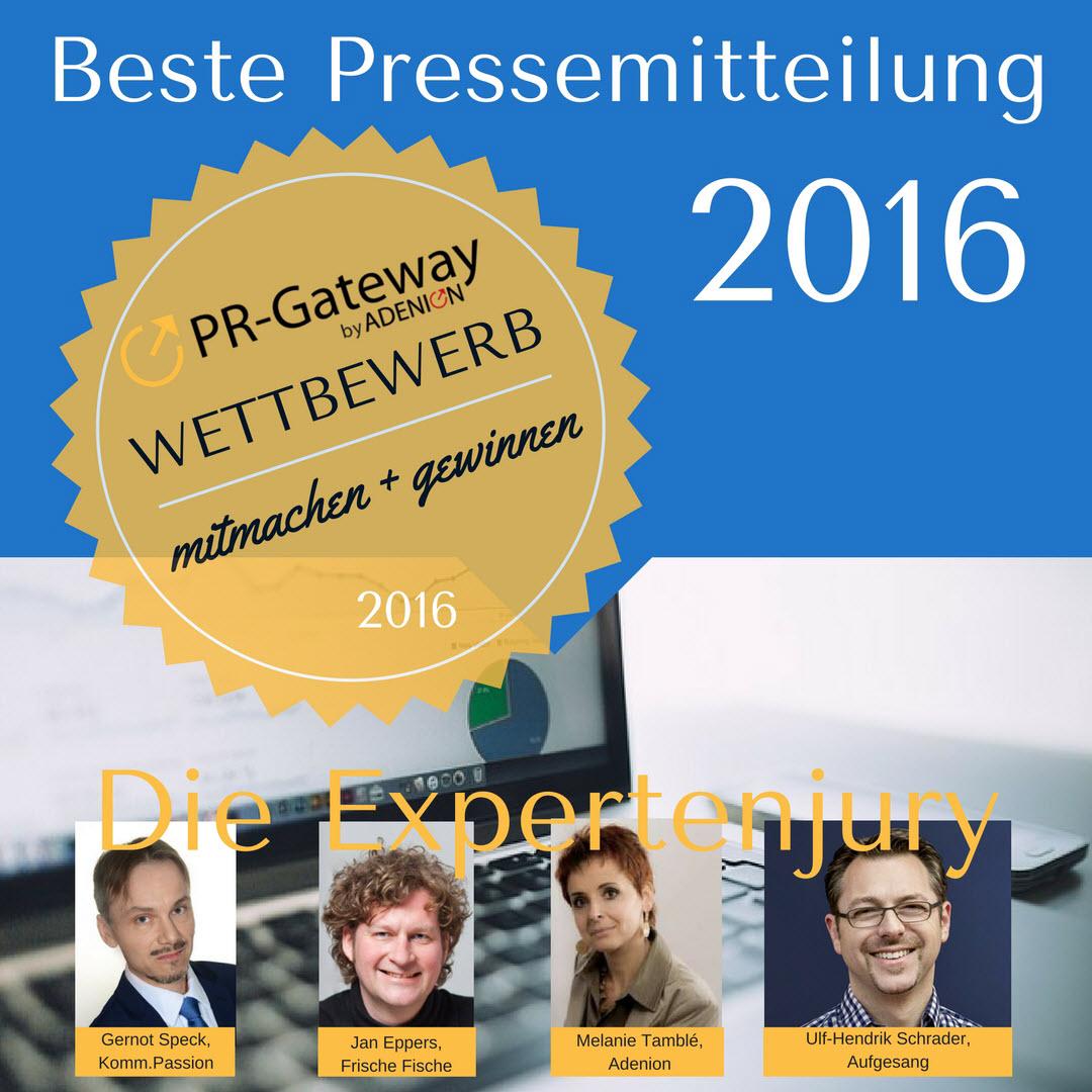 Die Expertenjury Wettbewerb beste Pressemitteilung 2016