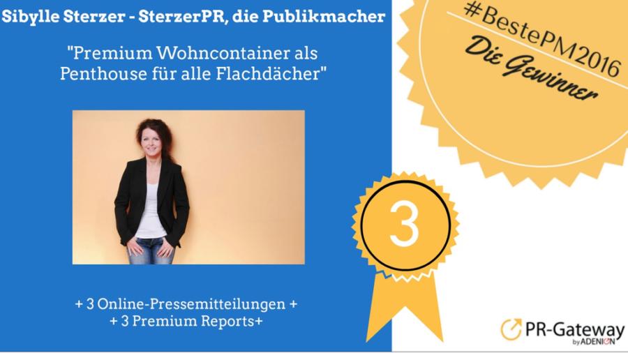 Beste Pressemitteilung 2016 - Platz 3: Sibylle Sterzer, SterzerPR, die Publikmacher. Foto Copyright: http://www.sputnikeinsfotografie.de