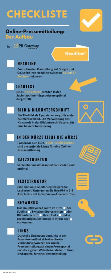 Checkliste Online-Pressemitteilung: Der Aufbau
