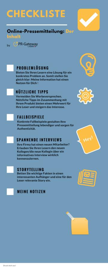 Checkliste Online-Pressemitteilung: Der Inhalt