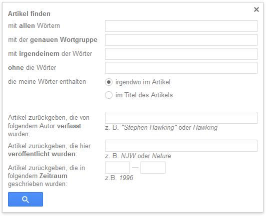Presseclipping: Beispiel Suchfilter bei Google Scholar