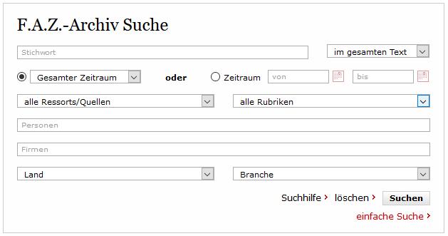 Presseclipping: Beispiel für Suchfilter bei der F.A.Z.
