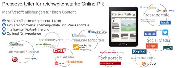 Presseverteiler PR-Gateway für weitreichende Veröffentlichung von Online-Pressemitteilungen