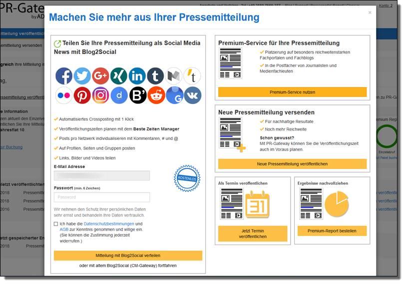 Mir Ihren Pressemitteilungen direkt von PR-Gateway in die sozialen Netzwerke mit der Blog2Social WebApp