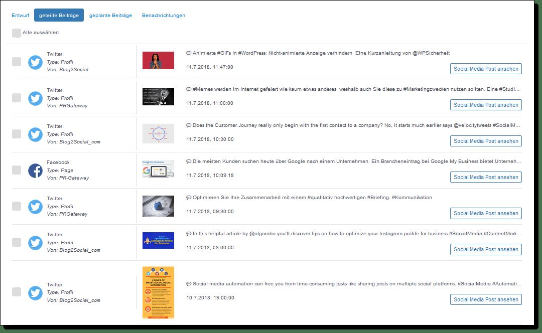 """Unter """"geteilte Beiträge"""" können Sie Ihre Veröffentlichungen einsehen."""