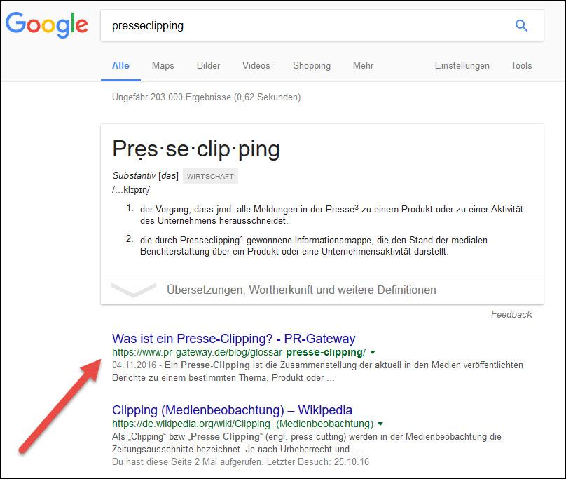 """PR-Gateway wird für das Keyword """"Presseclipping"""" an erster Stelle bei Google gelistet."""