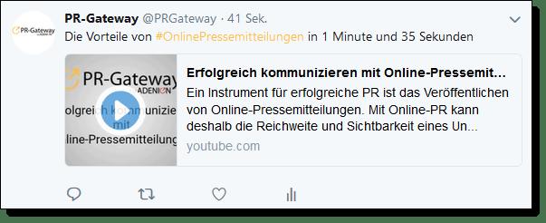Das YouTube Video ist bei Twitter direkt im Stream abrufbar.