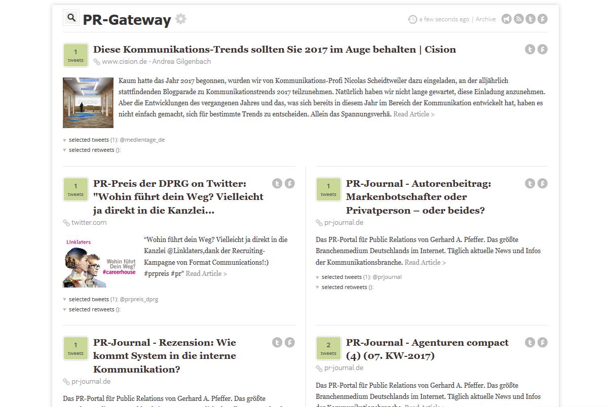 Content Curation mit The Tweeted Times.com: Ansicht der PR-Gateway Twitter-Zeitung