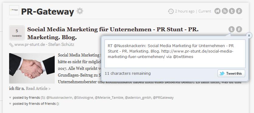 Content Curation: Machen Sie die Autoren Ihrer kuratierten Beiträge in den Social Media auf Ihre Twitter-Zeitung aufmerksam