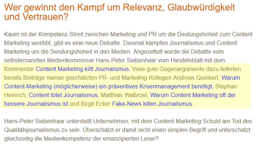 "Auszug aus Melanie Tamblés Blogbeitrag ""Content Marketing contra Journalismus – alles Lüge, oder was?"""