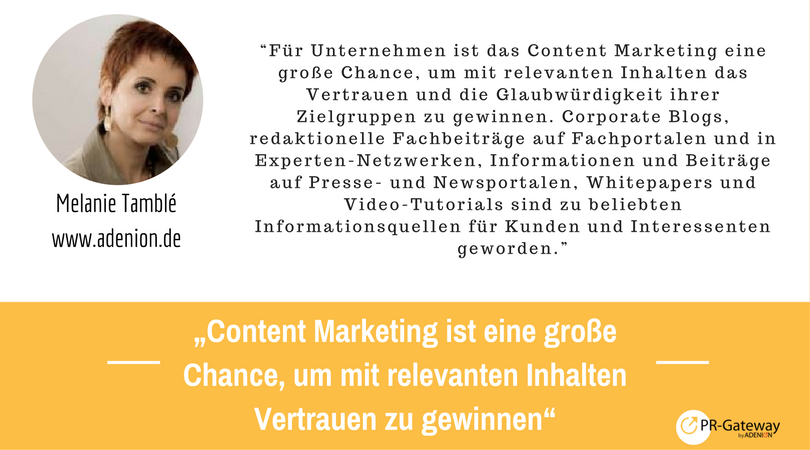 Marketing und PR Trends für die Kommunikation: Kommentar, Melanie Tamblé, adenion.de