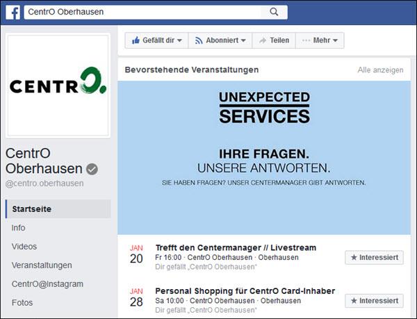 """Nähe zum Kunden: Das bekannte Shoppingcenter CentrO in Oberhausen bietet Events zum Personal Shopping oder Livestreams """"Treffen mit dem Centermanager"""". So gelingt die Integration von stationärem Handel und Social Commerce."""