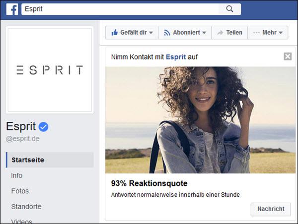 Esprit traut sich und bietet direkten Kontakt über die Social Media an mit einem Antwortverhalten innerhalb einer Stunde