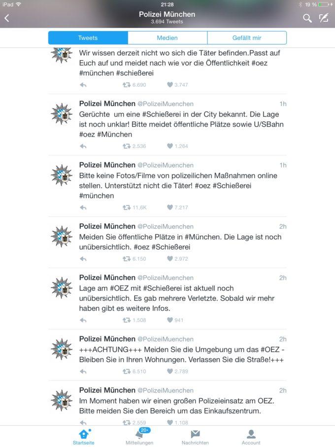 Erstklassige Krisenkommunikation der Polizei München beim Amoklauf am 22.07.2016 über Twitter.