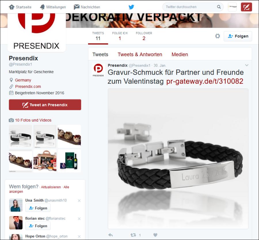 Noch am Anfang steht der Follower-Aufbau des Twitter-Kanals bei Presendix. Mit CM-Gateway lassen sich auf einfache Art und Weise auch neue Social Media Kanäle erschließen