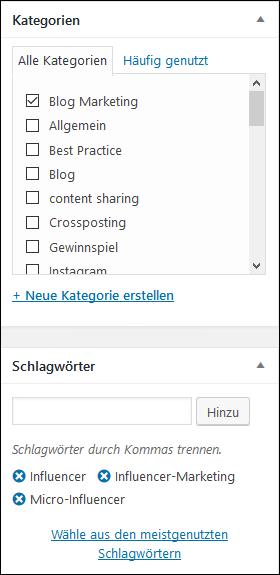 Die richtigen Keywords und Blogkategorie auswählen