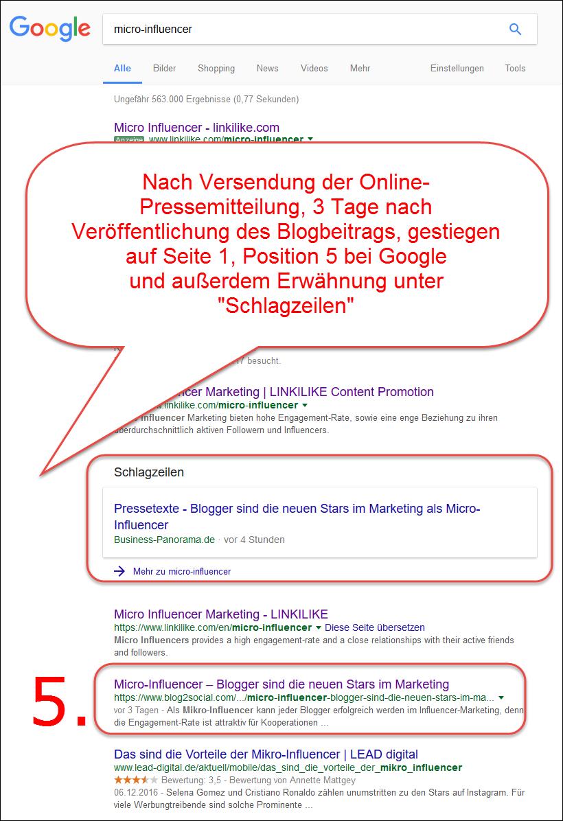 Von Null auf den fünften Platz bei Google mit einer Kommunikationsstrategie, bestehend aus Corporate Blog, Social Media und Online-Pressemitteilung