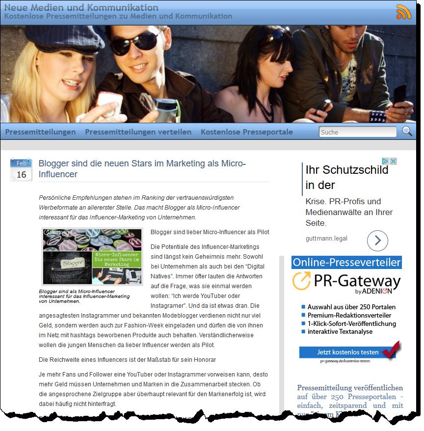 Interessante und aktuelle Themen eignen sich gut für eine Veröffentlichung als Online-Pressemitteilung.