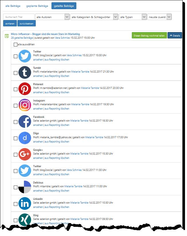 Umfassendes Teilen des Blogartikels in den Social Media