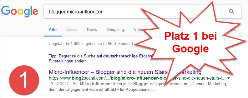 Platz 1 im Google-Ranking bei der Keyword-Kombination