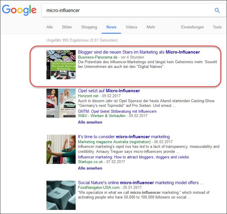 Eine Online-Pressemitteilung ist immer sofort in den Google News sichtbar