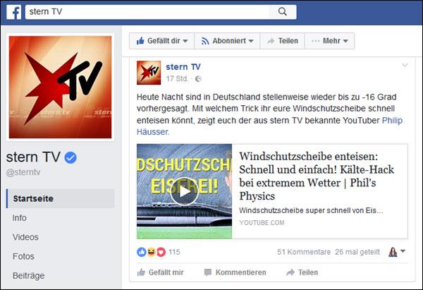 Stern-TV punktet mit Hintergrundberichten bei Facebook, die gerne gelikt, geteilt und kommentiert werden.