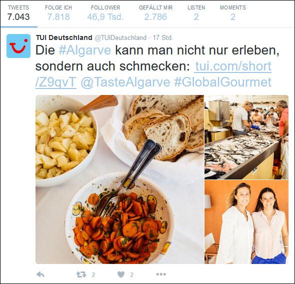 Tui twittert Infos über Land und Leute und erreicht damit 46.900 Follower