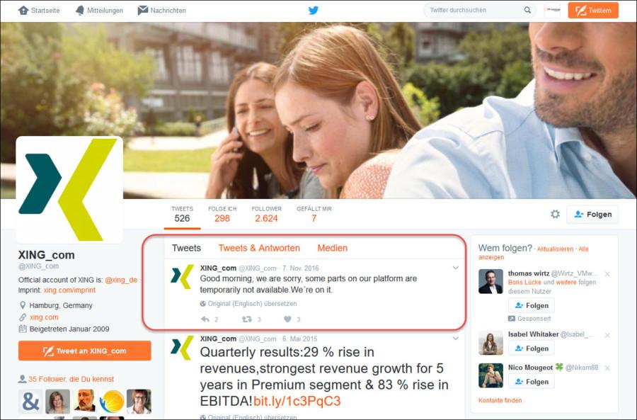Twitter funktioniert als schnellste Suchmaschine für Unternehmensnews, beispielsweise bei technischen Problemen.