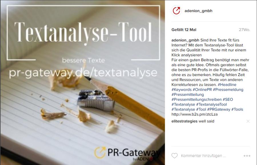 Beispiel für Social Media PR bei Instagram