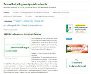 Online-Pressemitteilungen in der Gesundheitsbranche: gesundheitsblog-mediportal-online.de