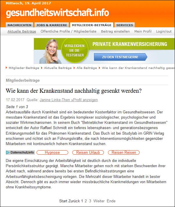 Online-Pressemitteilungen in der Gesundheitsbranche: Pressemitteilung auf dem Fachportal gesundheitswirtschaft.info