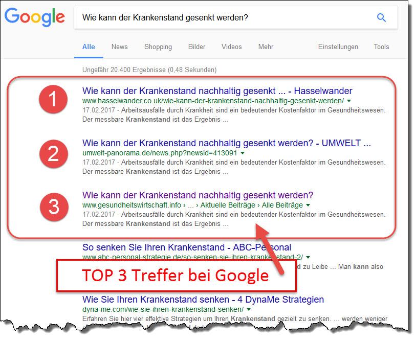 Online-Pressemitteilungen in der Gesundheitsbranche: Volltreffer: Die Pressemitteilung ist auf den ersten 3 Positionen bei Google zu finden