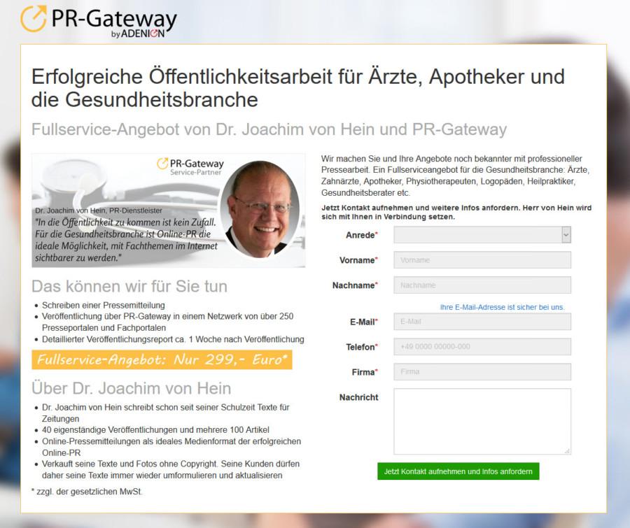 PR-Berater Dr. Hein bietet ein Fullserviceangebot in der Gesundheitsbranche