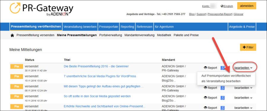 Online-Pressemitteilungen in der Gesundheitsbranche: Pressemitteilungen in der Gesundheitsbranche: Premium-Services nachträglich buchen