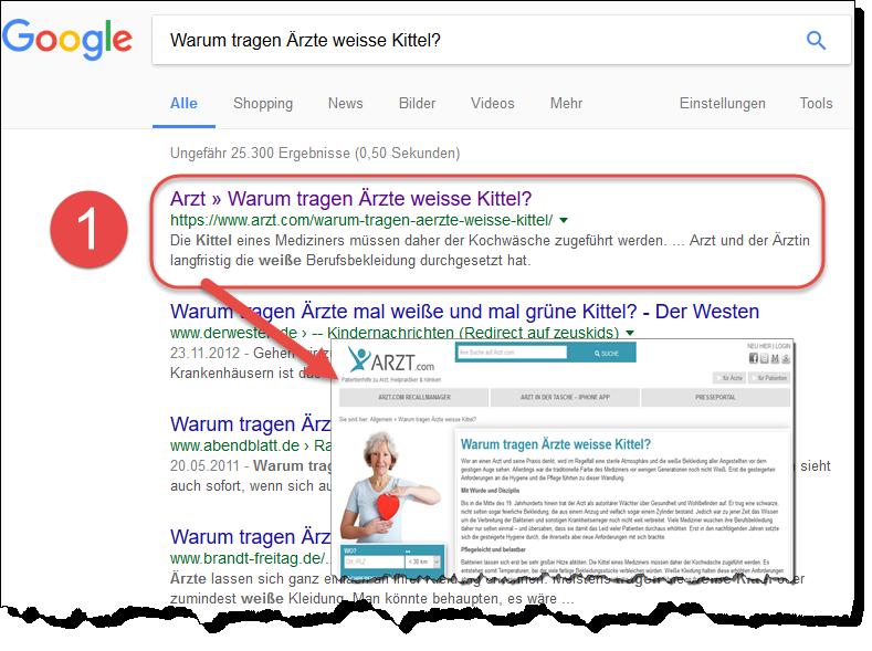 Online-Pressemitteilungen in der Gesundheitsbranche: Beispiel 3: Warum tragen Ärzte weiße Kittel? veröffentlicht auf arzt.com