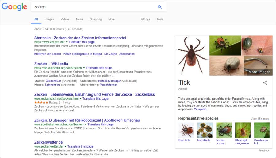 Online-Pressemitteilungen in der Gesundheitsbranche: Google-Suche zum Thema Zecken