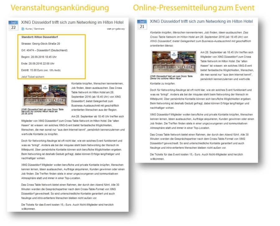 2 Formate – doppelte Wirkung. Während die Veranstaltungsankündigung auf Veranstaltungsportalen mit Fakten zum Event sowie einem Link zum Ticketshop punktet, verstärkt die Online-Pressemitteilung die Sichtbarkeit des Business-Events auf Online-Presseportalen.