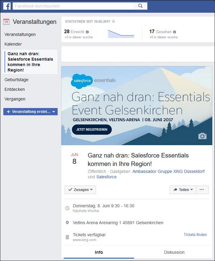 Mit Facebook können Sie Ihr Business-Event auf Ihrem Profil, Ihrer Business-Seite oder Gruppe bekannt machen.