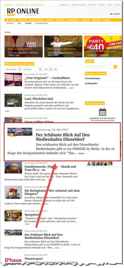 Durch die Eventinformation auf dem Eventportal von RP-Online.de, konnte ich für ein Business-Event am 18. Mai eine weitere Teilnehmerin gewinnen.