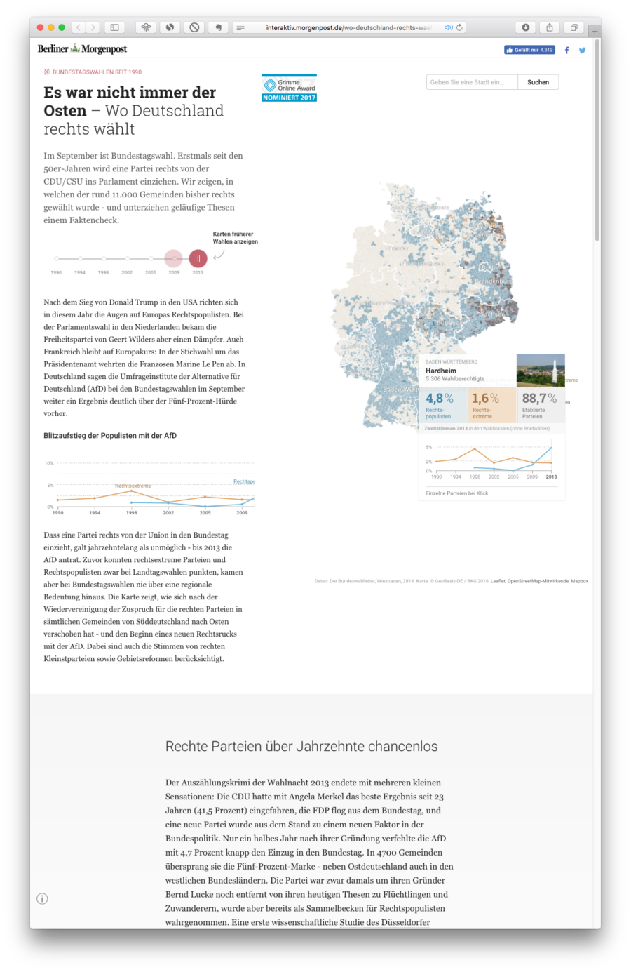 """Die Microsite """"Es war nicht immer der Osten"""" veranschaulicht mit Hilfe einer interaktiven Karte, wie sich die rechten Hochburgen seit der 90er Jahre vom Süden Deutschlands in den Osten verlagerten und welche Entwicklung mit der AfD einhergeht. Fakten begleitet von einordnenden Texten unterstützen das aufklärende Projekt der Berliner Morgenpost: http://interaktiv.morgenpost.de/wo-deutschland-rechts-waehlt/"""