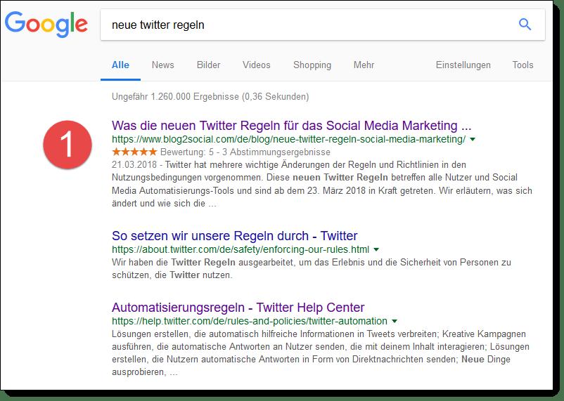 Position 1, Seite 1 bei Google mit dem Blogbeitrag