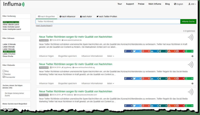 Influma bietet eine direkte Suche nach Presseportalen an.