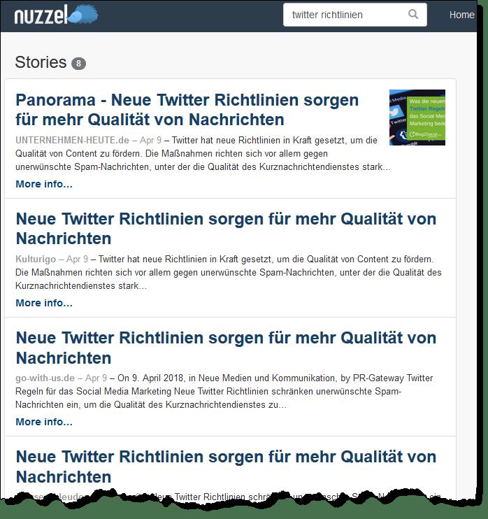 Auch Nuzzel findet Pressemitteilungen auf Presseportalen.