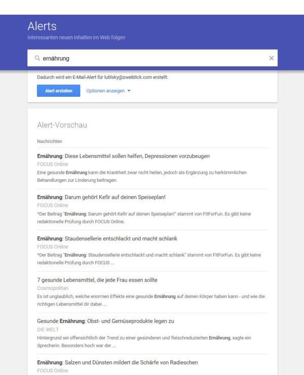 Beispiel: Mit Google Alerts erhalten Sie die täglichen Top-News zu Ihrem Wunschthema direkt ins E-Mail-Postfach.