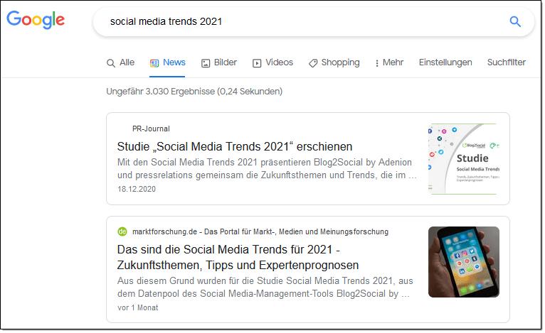 Online-PR: Beispiel von Medienveröffentlichungen in den Google News