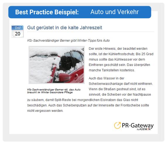 Best Practice Beispiel: Auto und Verkehr