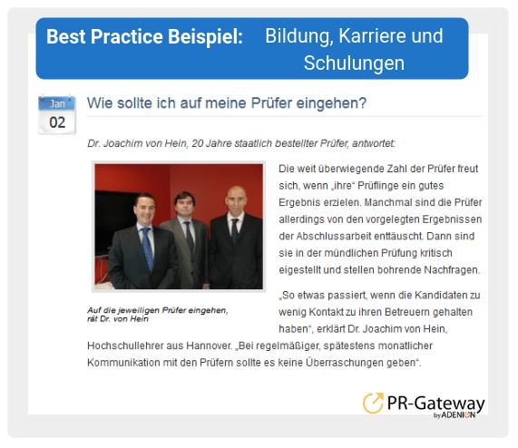Best Practice Beispiel: Bildung, Karriere und Schulungen